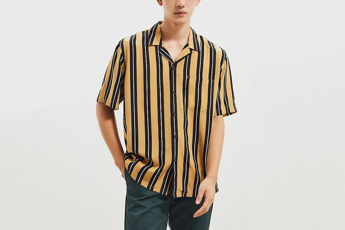 f9c883a41b UO Rayon Vertical Stripe Short Sleeve Button-Down Shirt