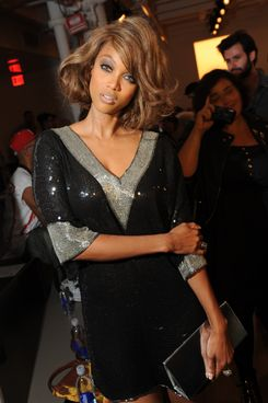 Tyra Banks attends Jeremy Scott's spring 2013 runway show at Milk Studios.