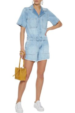 DL1961 Hannah Frayed Denim Playsuit
