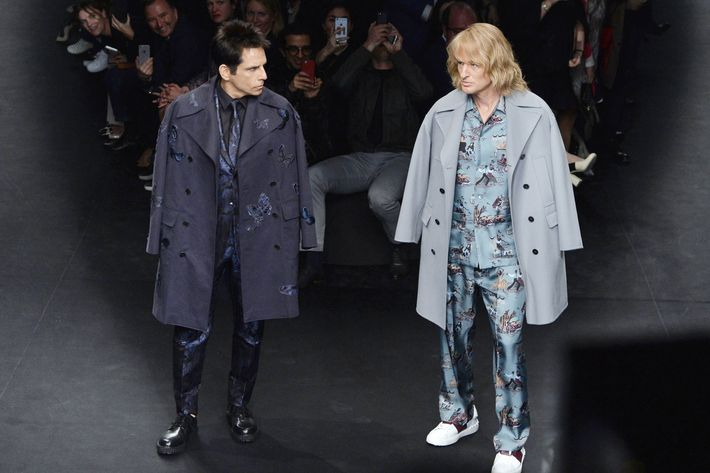 Ben Stiller and Owen Wilson walk in Valentino's fall 2015 show.