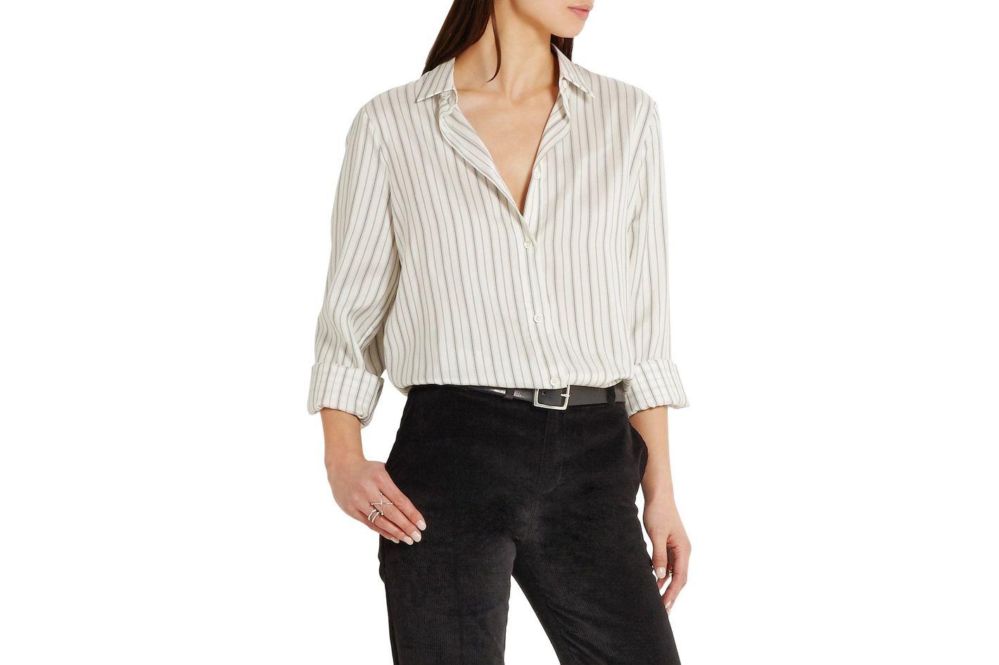Maison Margiela Pinstriped washed-silk habotai shirt