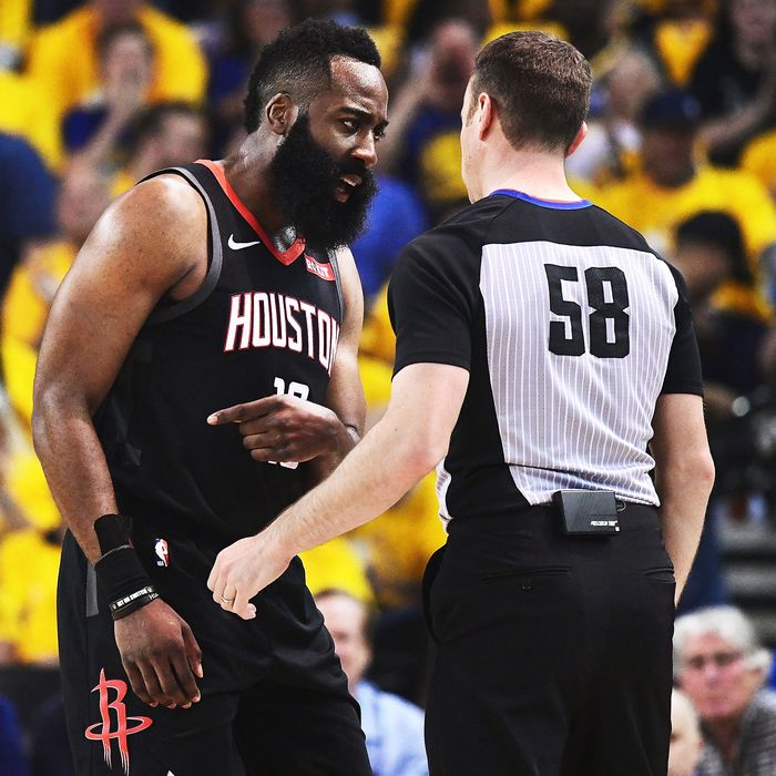 f3855830 James Harden of the Houston Rockets and referee Josh Tiven during Sunday's  game against the Golden State Warriors. Photo: Thearon W. Henderson/Getty  Images