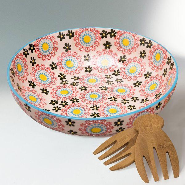 Large Salad Bowl Serving Platter with Salad Hands