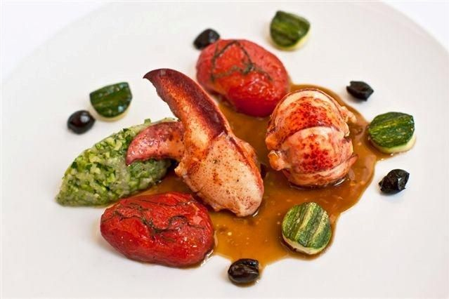 Oceana's poached Fourchu lobster with tomato confit and zucchini.