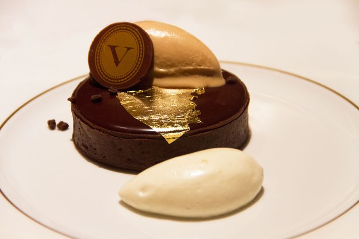 Tarte Vaucluse: cocoa sablé, toasted-hazelnut dacquoise, chocolate crémeux, and Chantilly.