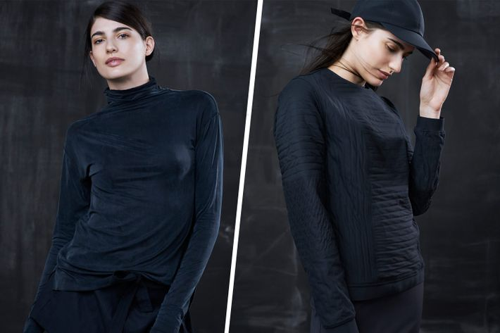 Two looks from the new Lululemon Lab concept store.