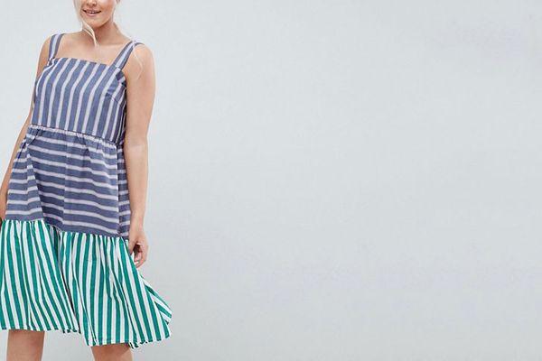 ASOS DESIGN Curve stripe midi tiered sundress