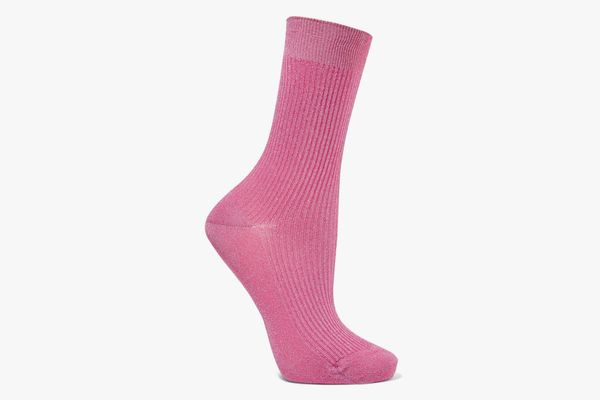 Maria La Rosa Ribbed Metallic Stretch-Knit Socks