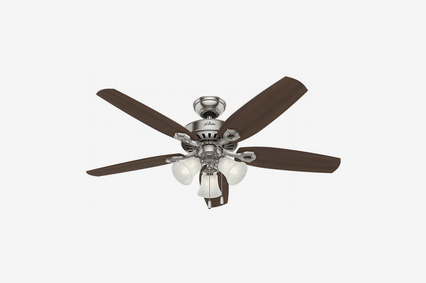 Hunter Fans 53237 Ceiling Fan with Brazilian Cherry/Harvest Mahogany Blades and Swirled Marble Glass Light Kit, Brushed Nickel, 52-Inch