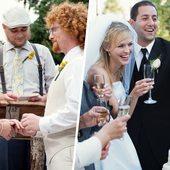 The more suspenders, the classier the wedding.