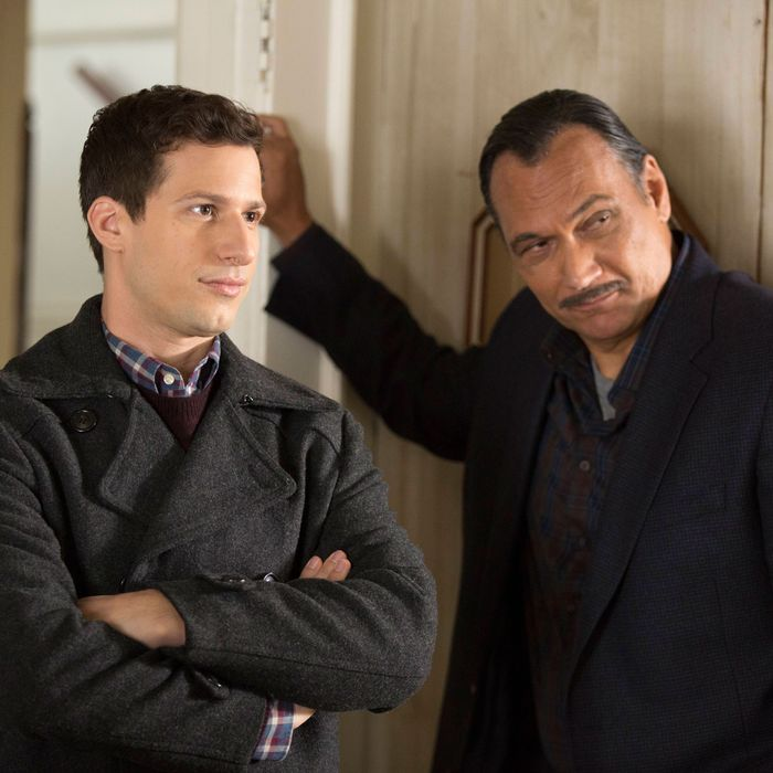 "BROOKLYN NINE-NINE: L-R: Andy Samberg and guest star Jimmy Smits in the ""Mr. Santiago"" episode of BROOKLYN NINE-NINE airing Tuesday, Nov. 22 (8:00-8:31 PM ET/PT) on FOX.CR: John P Fleenor/FOX"