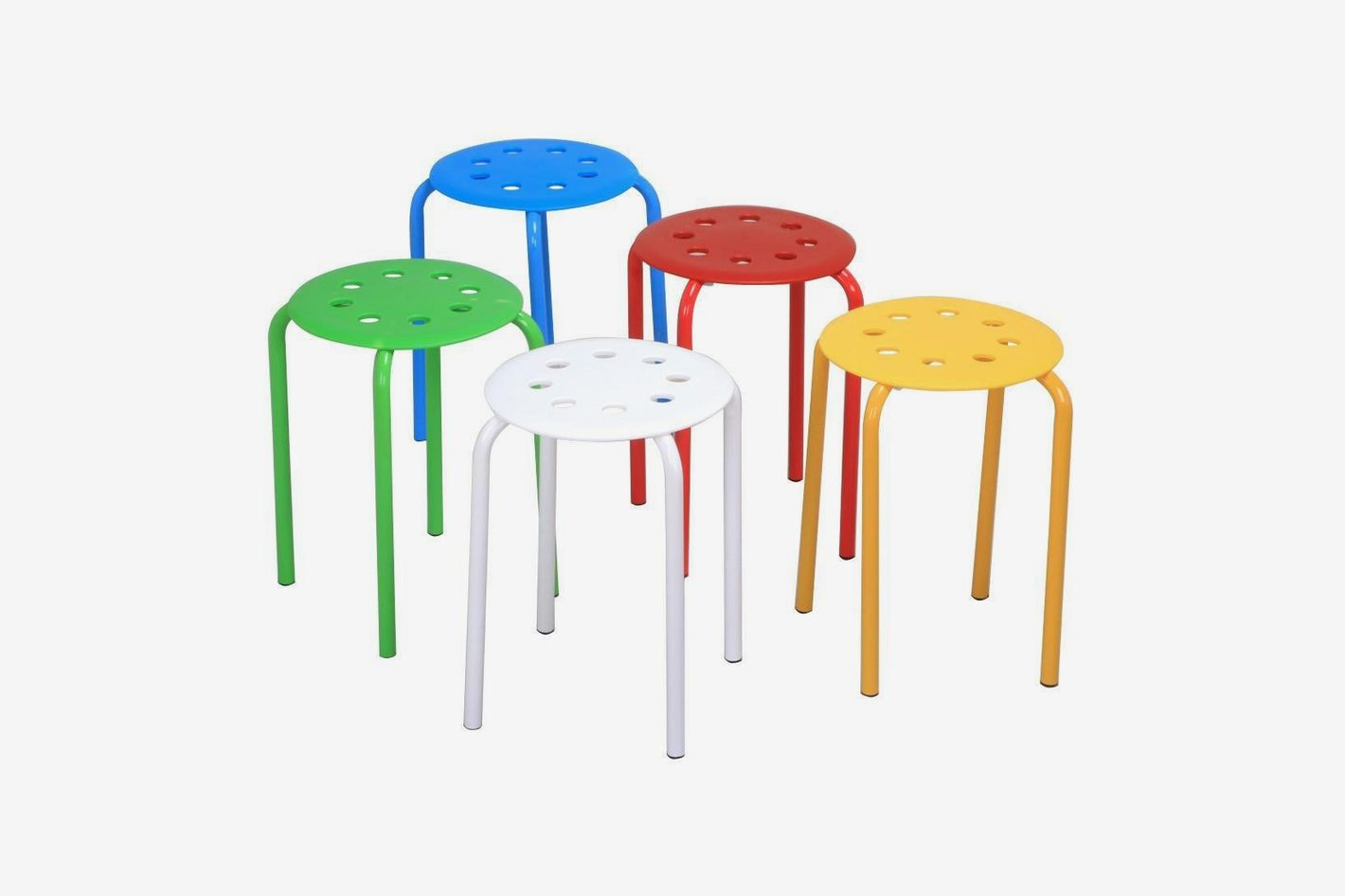 "Topeakmart 17.3"" Tall Nesting Plastic Stack Stools Blue/Green/Red/White/Yellow (Set of 5, Multicolored)"