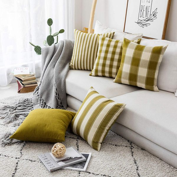 Home Brilliant Couch Throw Pillows Linen Cushion Covers