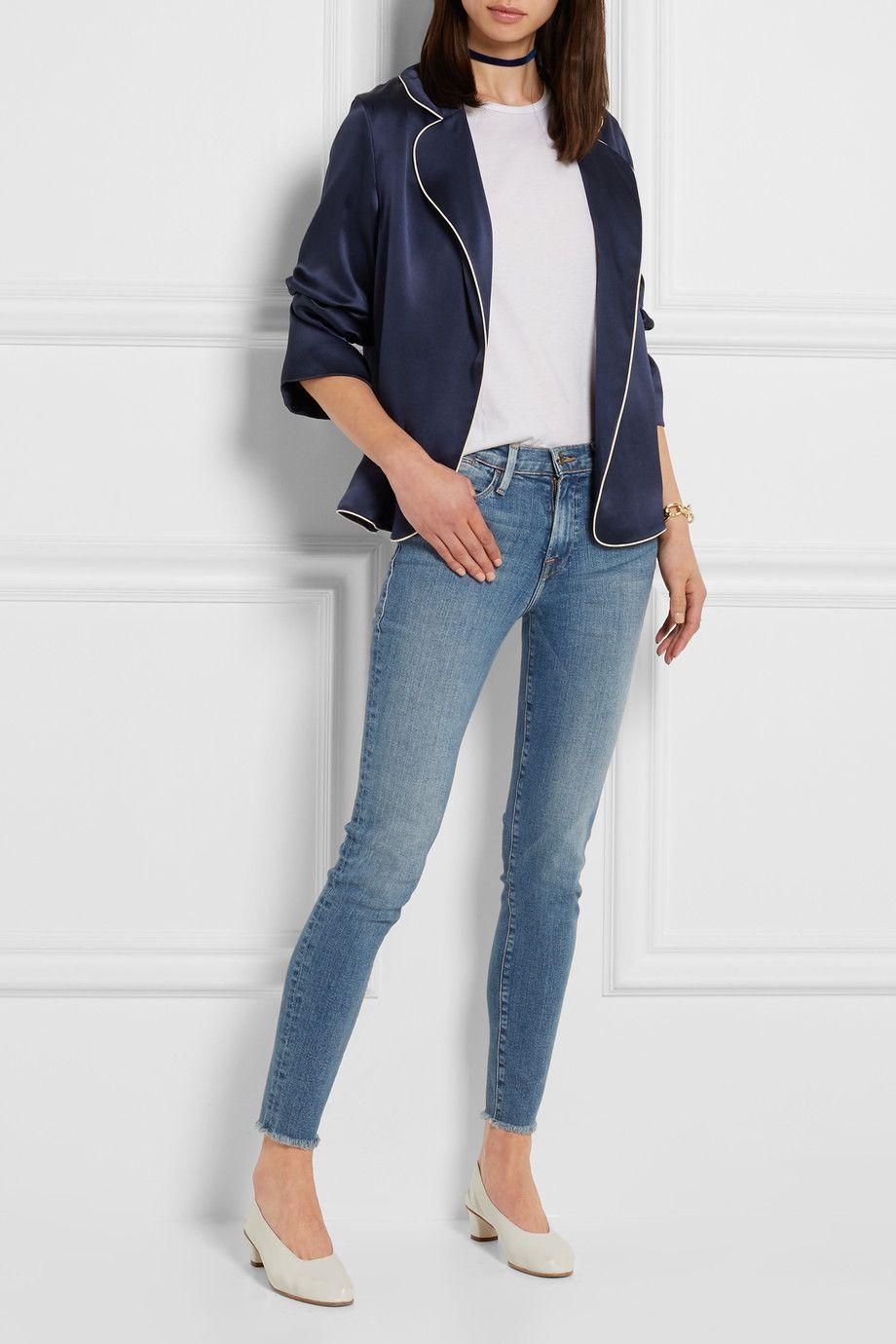 Frame mid-rise frayed skinny jeans