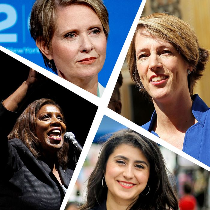 Clockwise from top: Cynthia Nixon, Zephyr Teachout, Jessica Ramos, Letitia James.