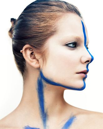 Eniko Mihalik all blue and stripey.