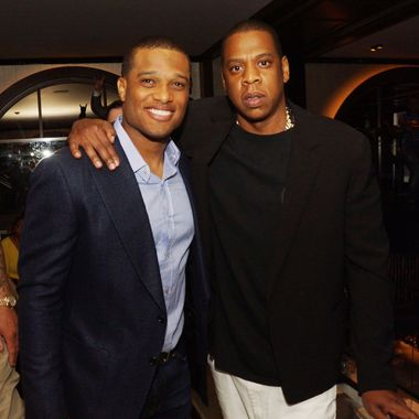 "Robinson Cano and Jay-Z attend The ""Super Heroes"" Fundraiser And Domino Tournament at The 40/40 Club on June 24, 2013 in New York City."