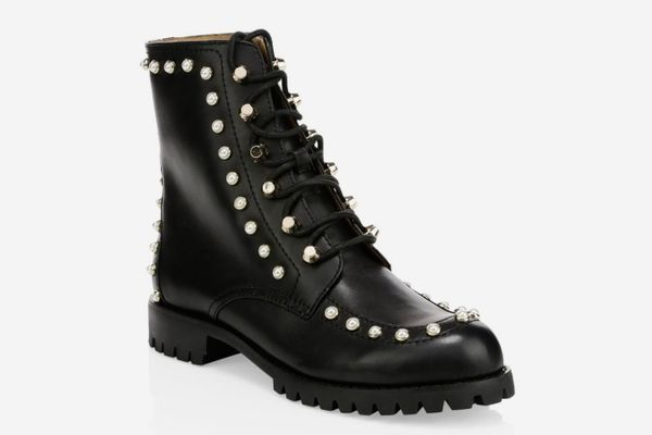Joie Halyn Pearl-Studded Combat Boots