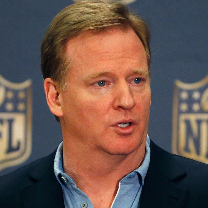 NFL Commissioner Roger Goodell addresses the media at a news conference during the NFL Annual Meeting Wednesday, March 25, 2015, in Phoenix. (AP Photo/Ross D. Franklin)