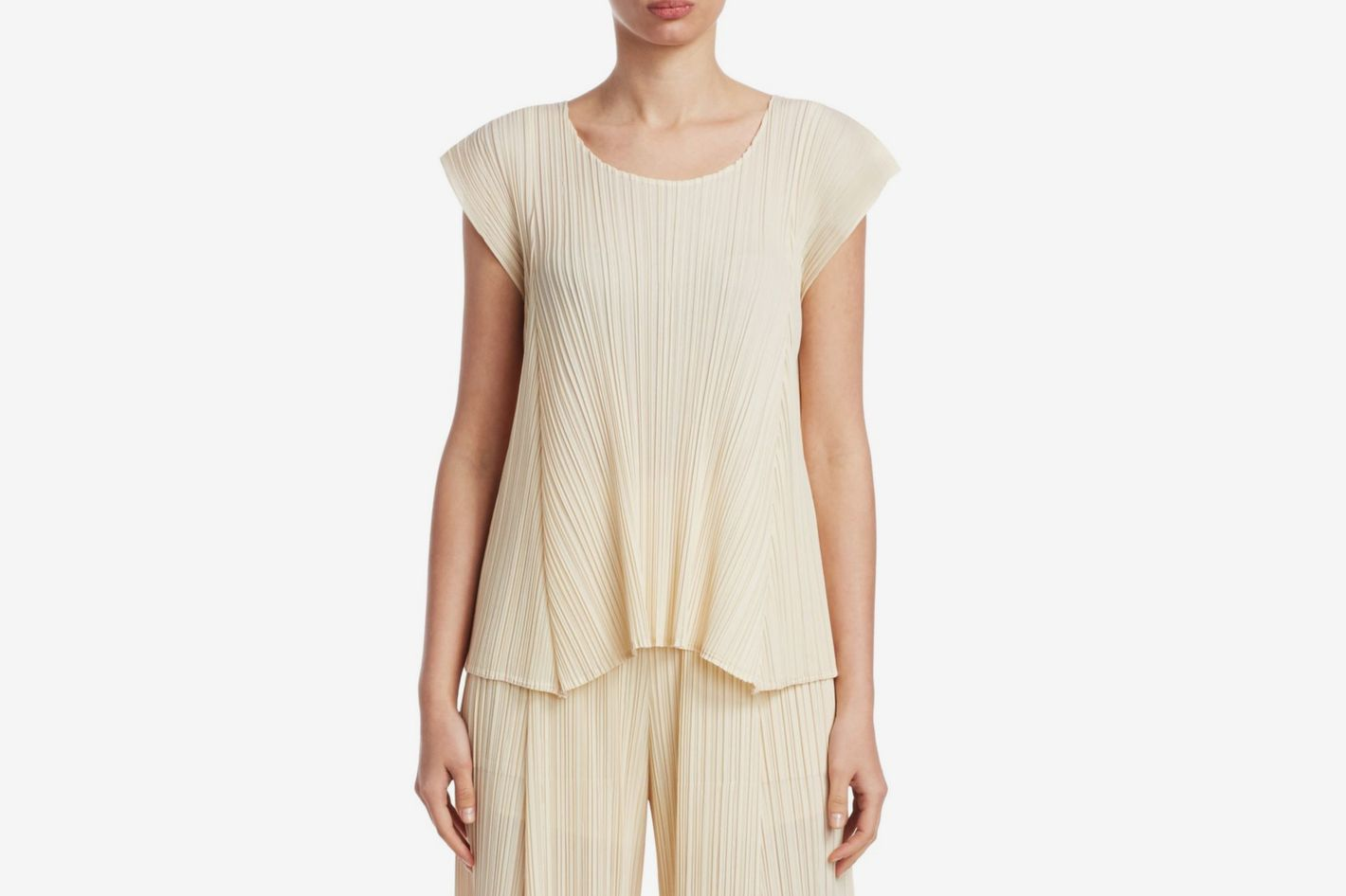 0492113908a Pleats Please Issey Miyake Multi Textured Top