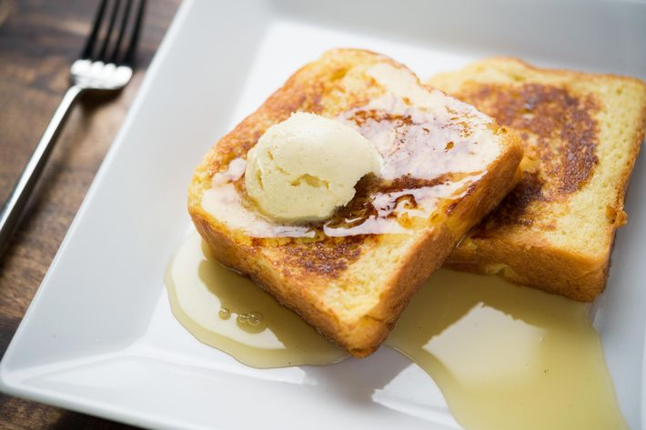 Dirt Candy's corn French toast comes with yellow-corn jelly and bourbon-corn butter.