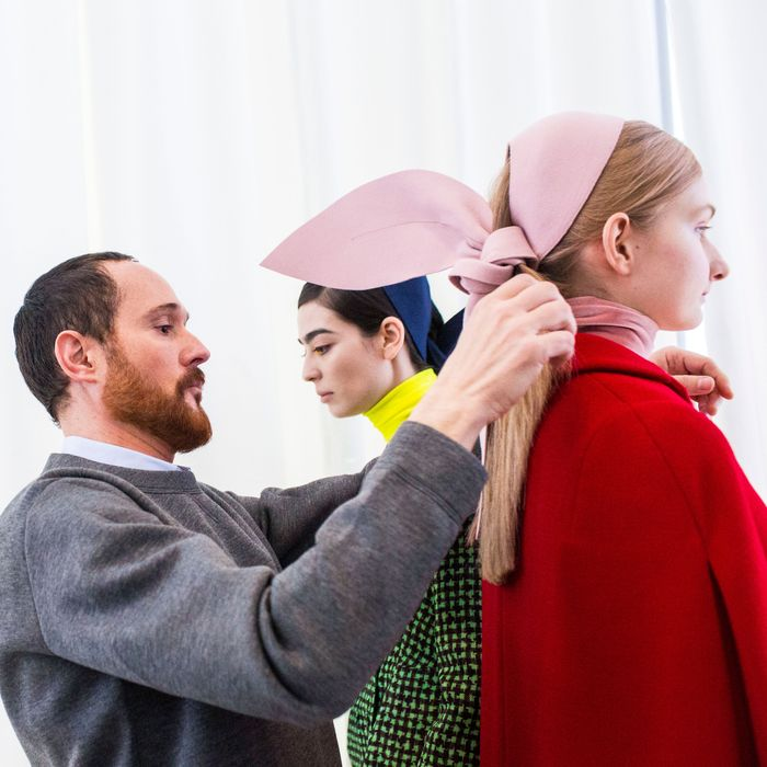 Designer Josep Font backstage at Delpozo