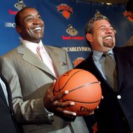 UNITED STATES - JULY 28: Basketball Hall of Famer Larry Brown, New York Knicks' president Isiah Thomas and Madison Square Garden chairman James Dolan (l. to r.) get together during a noon news conference in the Theater at the Garden, where Brown was formally introduced as the Knicks' new head coach. He's believed to have secured a four-year contract with a salary of at least $8 million annually. (Photo by Ron Antonelli/NY Daily News Archive via Getty Images)