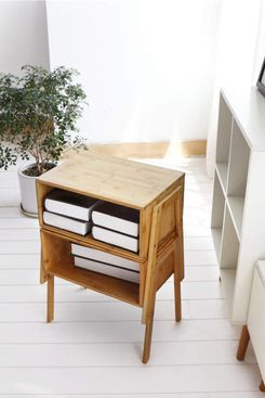 LASUAVY Bamboo Nightstand Stackable Side Table, Set of Two
