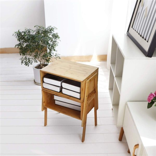 LASUAVY Bamboo Nightstand Stackable Side Table, Set of 2