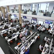Al Jazeera America employees in the network's offices in New York, May 24, 2013. To counter skepticism about its Al Jazeera America cable channel, the Qatar-based network is building a sizable news organization to cover the U.S. (Chang W. Lee/The New York Times)