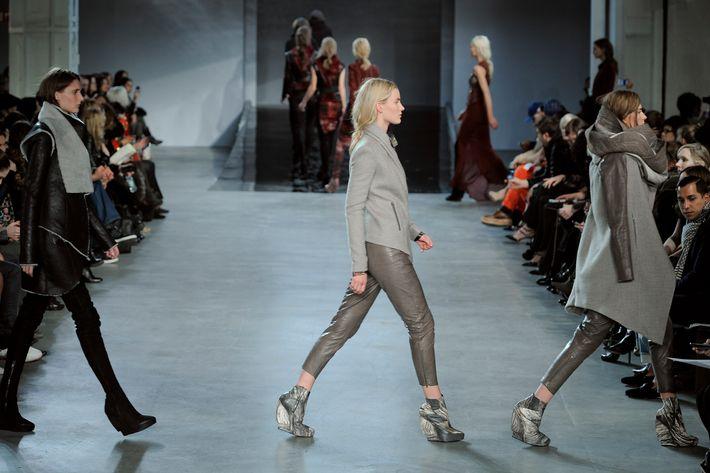 Models at Helmut Lang's fall 2012 show.