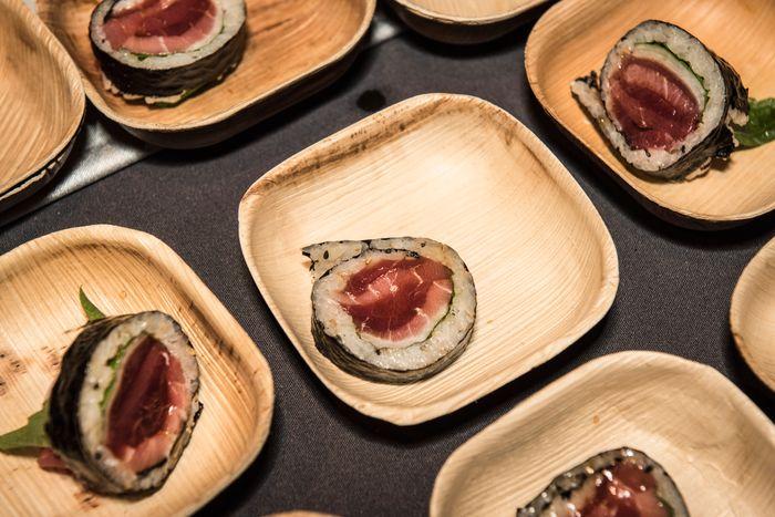 Jeju Noodle Bar's tuna kimbap with tuna millefeuille, radish, perilla, and seaweed wrap.
