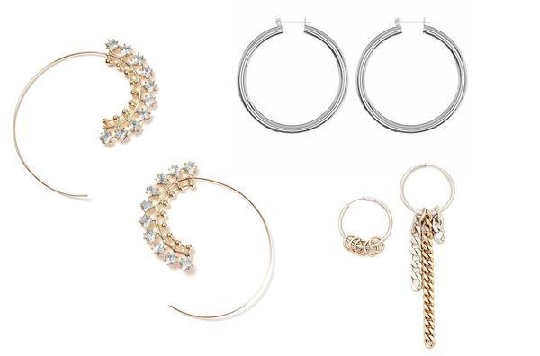 Rhinestone Swirl Hoop Earrings