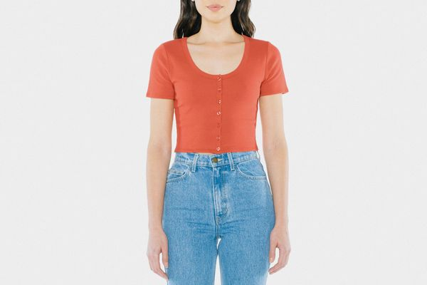 American Apparel Button Front Short Sleeve Crop Top