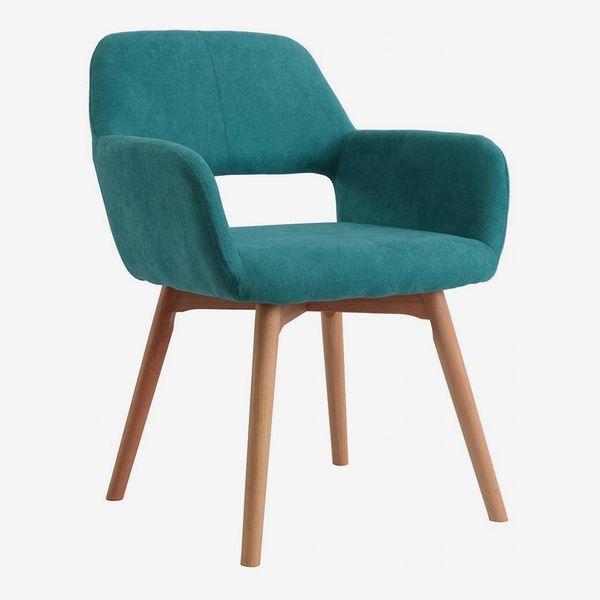 Modern Design Fabric Chair w/Solid Wood Leg, Teal