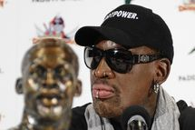 Former-NBA player Dennis Rodman holds a news conference in New York on September 9, 2013 to discuss his recent trip to North Korea. Rodman said that he will put together a 'basketball diplomacy' event involving players from North Korea. The event will be sponsored by the Irish online betting company Paddy Power. At the news conference, he called Kim Jong Un, ruler of the repressive state, a 'very good guy.'