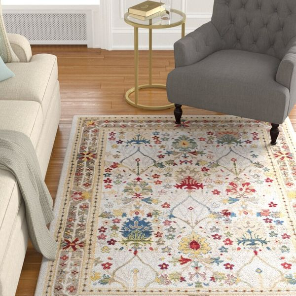 Charlton Home Arbouet Traditional Floral Dark Red/Cream Area Rug (7'10