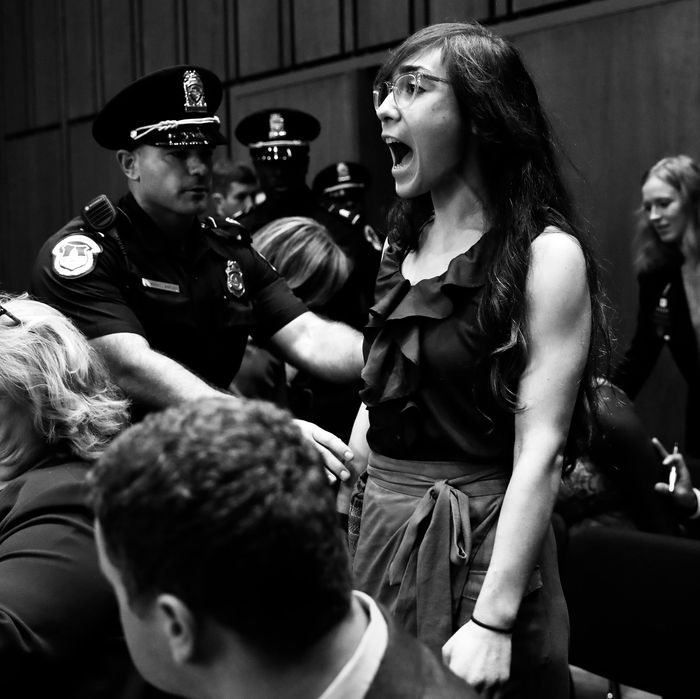 Protester at Brett Kavanaugh's confirmation hearing.