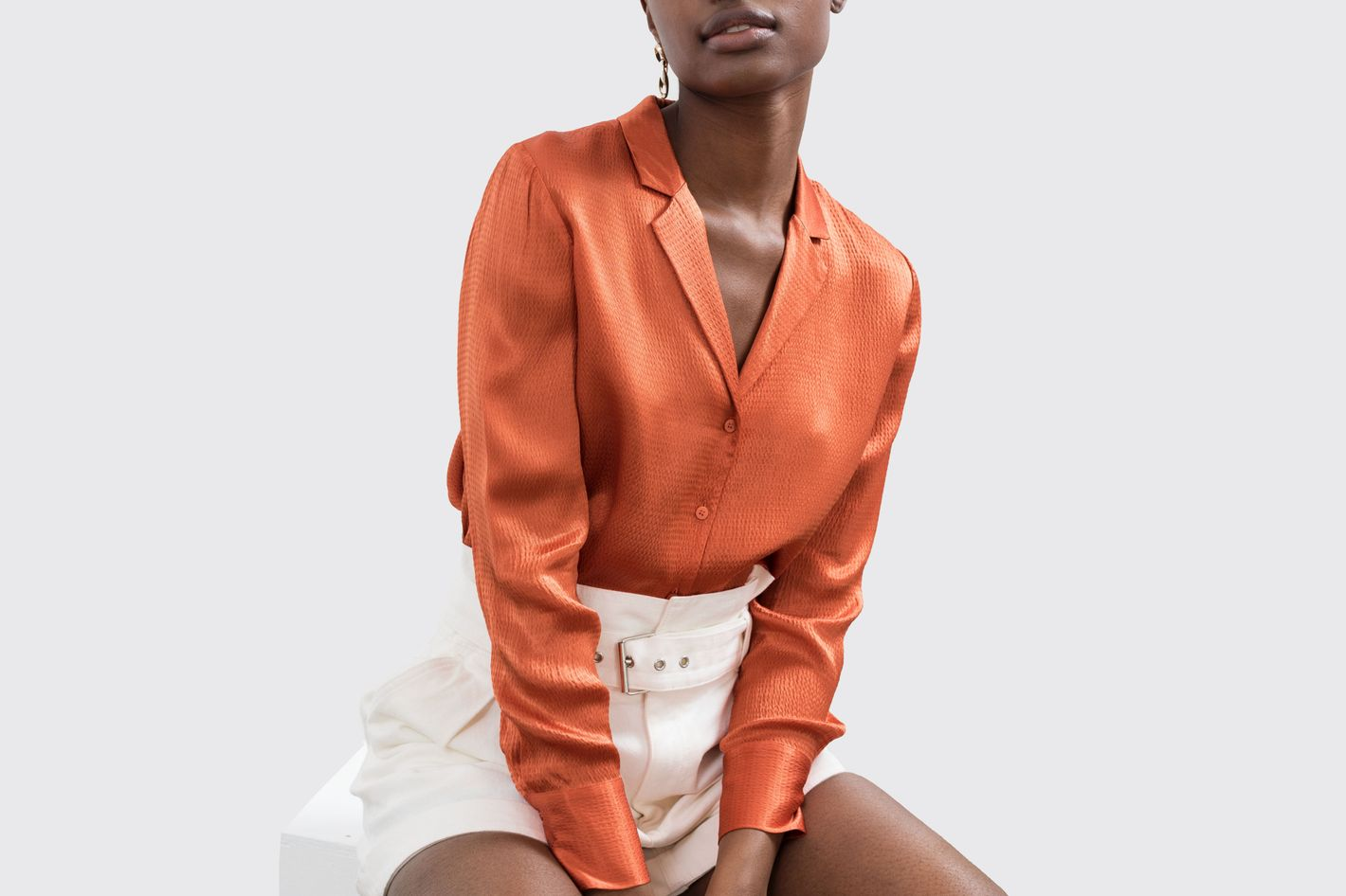 & Other Stories Button-Up Satin Blouse