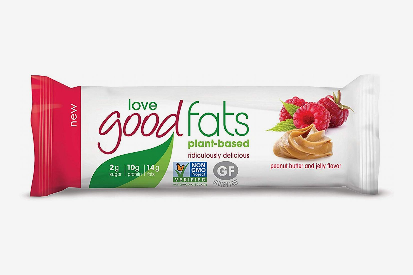 Love Food Fats Plant-Based Bars, Peanut Butter & Jelly - Box of 12