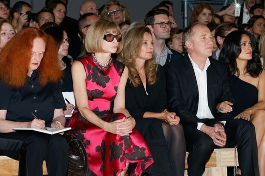 Grace Coddington, Anne Wintour, French First Lady Valerie Trierweiler, Francois-Henri Pinault  and Salma Hayek attend Saint Laurent show as part of the Paris Fashion Week Womenswear Spring/Summer 2014 at Grand Palais on September 30, 2013 in Paris, France.