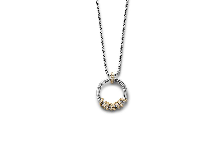 Helena Medium Pendant Necklace with Diamonds and 18K Gold