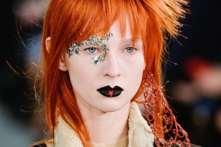 David Bowie–inspired makeup at Margiela.
