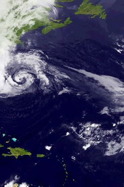 AT SEA - OCTOBER 28: In this handout satellite image provided by National Oceanic and Atmospheric Administration (NOAA), Hurricane Sandy, pictured at 00:15 UTC, churns off the east coast on October 28, 2012 in the Atlantic Ocean. Sandy which has already claimed over 50 lives in the Caribbean is predicted to bring heavy winds and floodwaters to the mid-atlantic region. (Photo by NASA via Getty Images)