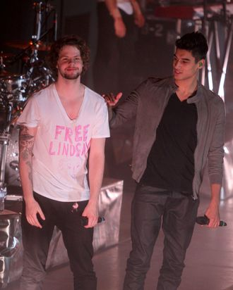 Siva Kaneswaran and Jay McGuiness from The Wanted opens for Justin Bieber's performance at Madison Square Garden in New York. Carly Rae Jepsen and The Wanted were the opening acts for pop star Justin Bieber's massive show.
