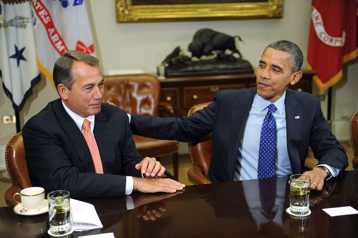U.S. President Barack Obama (R) sits with Speaker of the House John Boehner (R-OH) during a meeting with bipartisan group of congressional leaders in the Roosevelt Room of the White House on November 16, 2012 in Washington, DC. Obama and congressional leaders of both parties are meeting to reportedly discuss deficit reduction before the tax increases and automatic spending cuts go into affect in the new year.