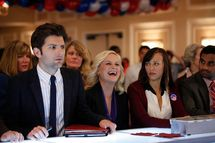 "PARKS AND RECREATION -- ""Win, Lose, or Draw"" Episode 422 -- Pictured: (l-r) Adam Scott as Ben Wyatt, Amy Poehler as Leslie Knope, Rashida Jones as Ann Perkins, Aziz Ansari as Tom Haverford."