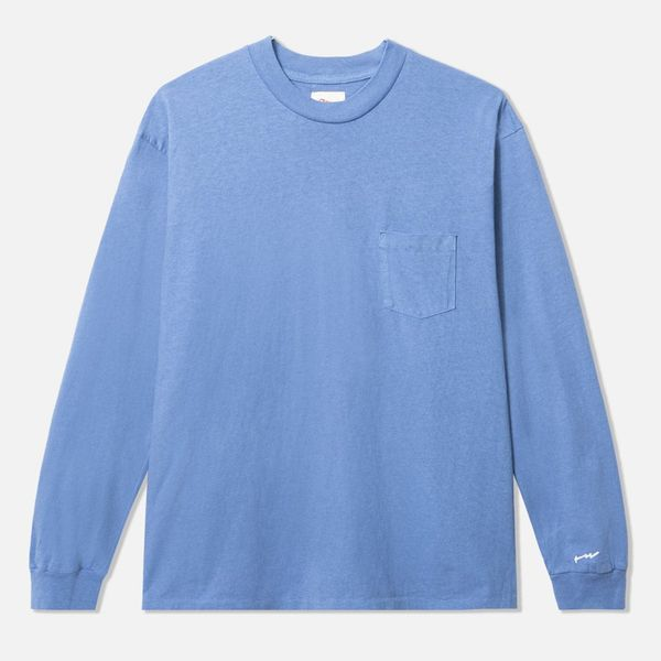 General Admission Long-Sleeve Loose Knit Pocket Tee, Blue