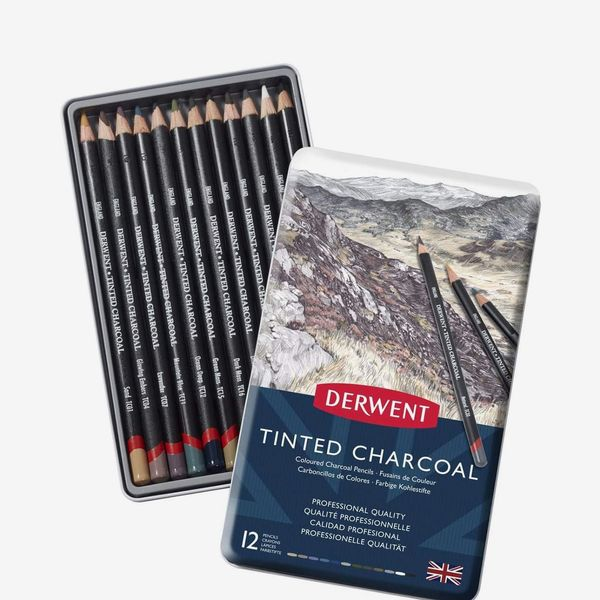 Derwent Tinted Charcoal Drawing Pencils (Pack of 12)