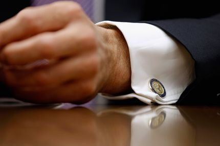 JPMorgan Chase & Co Chairman and CEO Jamie Dimon wears U.S. presidential cuff links while testifying before the House Financial Services Committee on Capitol Hill June 19, 2012
